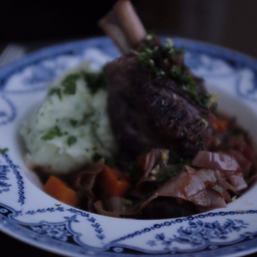 Lamb Shanks cooked in red wine