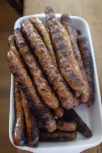 A mixed selection of sausages