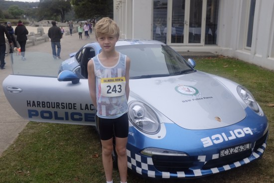 Alfie just loves the Porsche police car (that's just used for PR purposes)