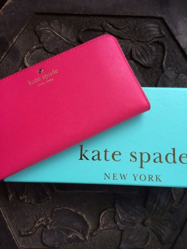 A hot pink wallet