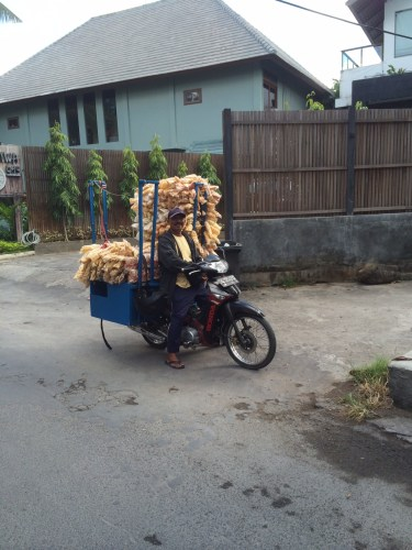 Motorbikes are also used to carry big loads