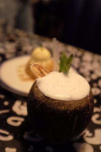 Rosie's Coco Colada - Pampero dark rum infused with pimento, pineapple, coco lopez, sugarcane, lime, banana - $18.00