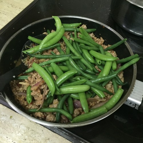 Making the stir-fry