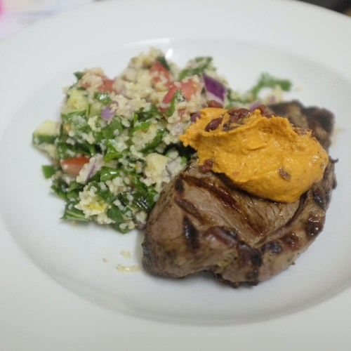 Lebanese lamb with bulgur tabbouleh and pomegranate sumac hummus