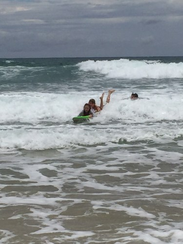 Cousins surfing together
