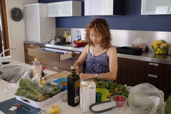 Sue making the salads