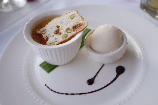 Lemon crème brulee, coconut sorbet with fig and pistachio wafers
