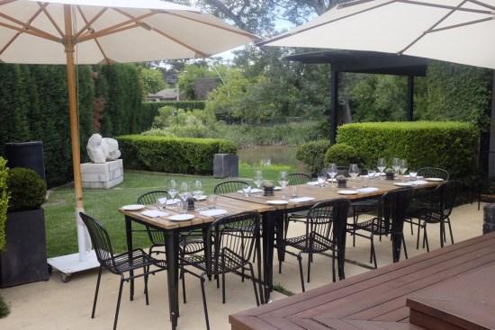 Outdoor dining under umbrellas