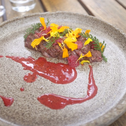 Kangaroo with cooked and raw native raspberries