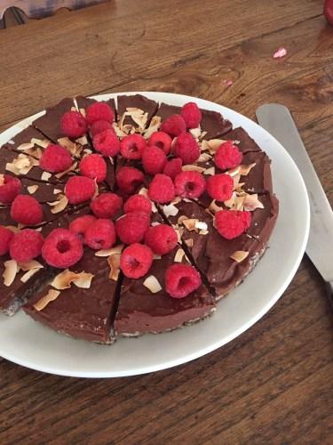Vegan chocolate and raspberry tart