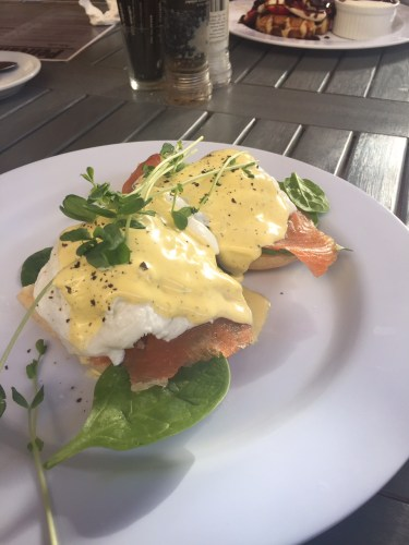 Eggs Benedict with smoked salmon: $17.00