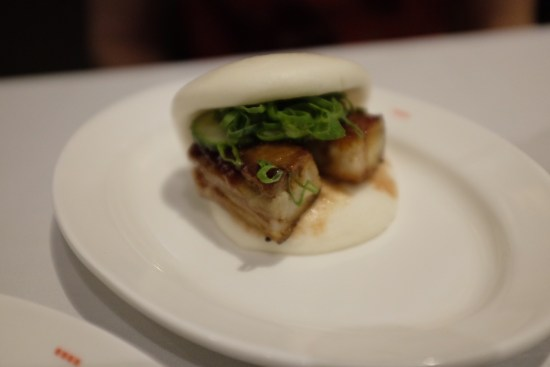 Steamed bun, crisp pork belly, char sui glaze, cucumber, shallot: $12.00