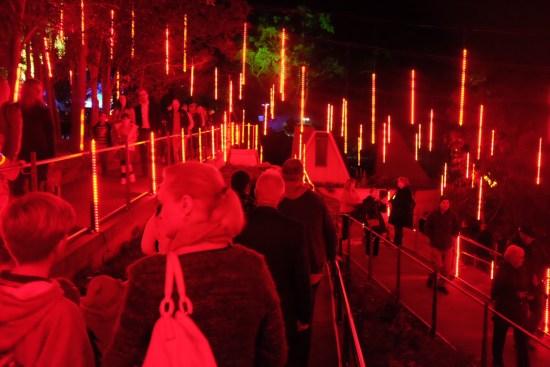 Dangling lights that change colour