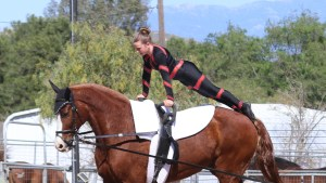 Roro competing at a vaulting competition in ContenderWear
