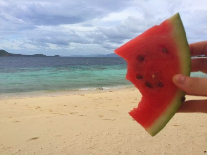 watermelon on beach in Philippines clear water white sand