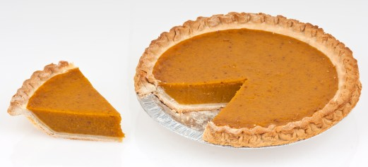 Pumpkin pie full pie slice of pie