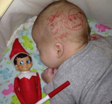 babys head elf on the shelf