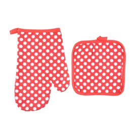 Oven Mitt and Potholder (Red)