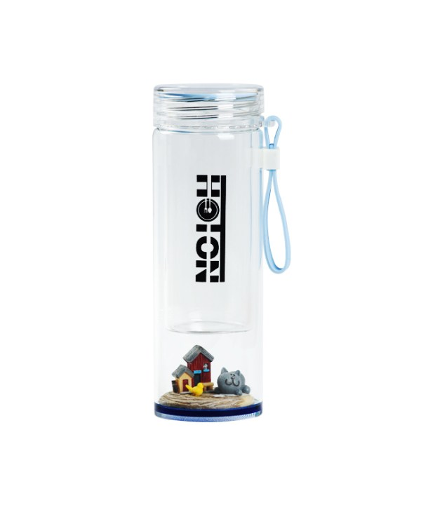 Crystal Bottom Gray Cat Glass Tumbler with Strap (Blue)