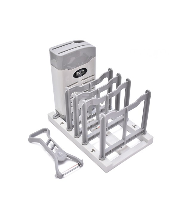 Knife and Plate Holder with Peeler