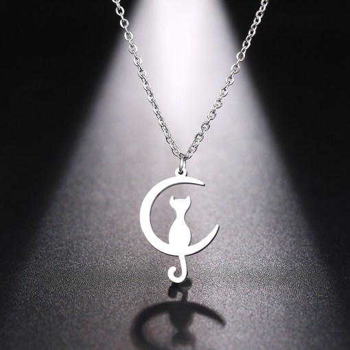 Cat and moon necklace