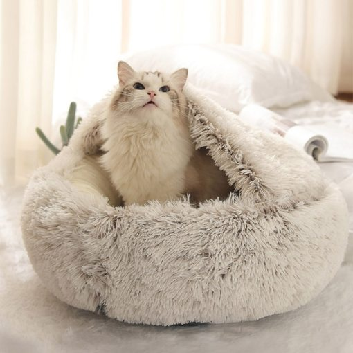fluffy round cat bed