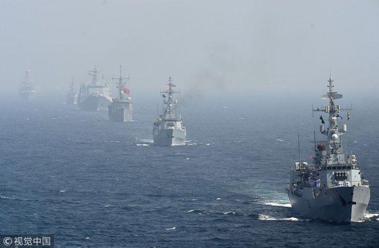 巴铁组织最大海上演习,中美俄等45国军舰集结,印度被排除在外