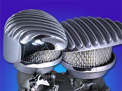 """Wedge"" Polished Finned Aluminum Air Cleaner"