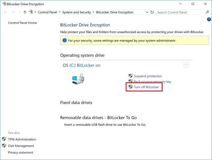 Cách tắt mã hóa thiết bị Bitlocker trước khi thực hiện Update/ khôi phục ảnh gốc