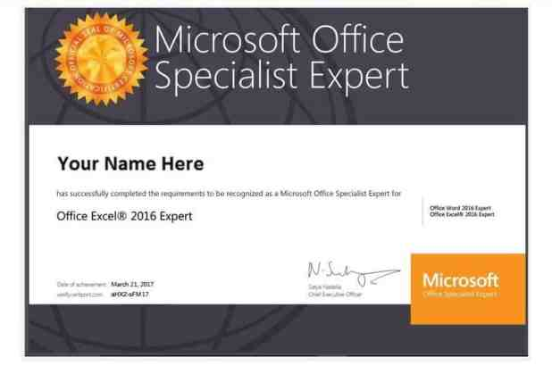 Chứng chỉ Microsoft Office Expert