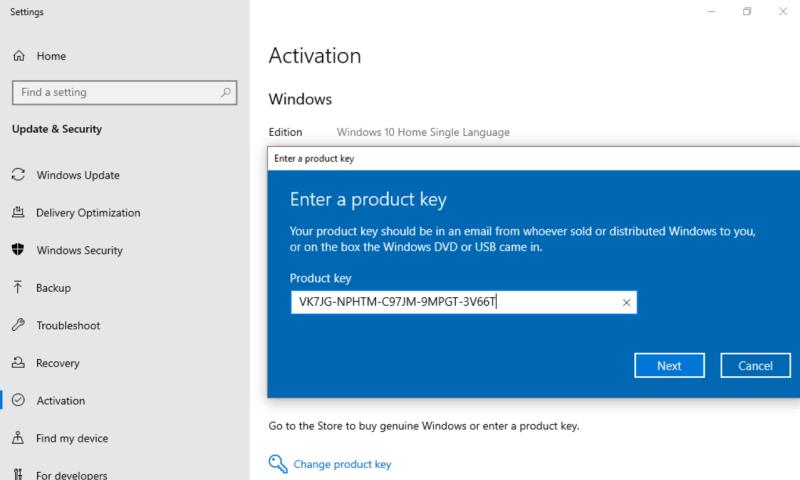 Nâng cấp Windows 10 Home Single Language lên Windows 10 PRO ?