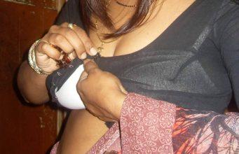 Indian desi bhabhi wearing transparent blouse