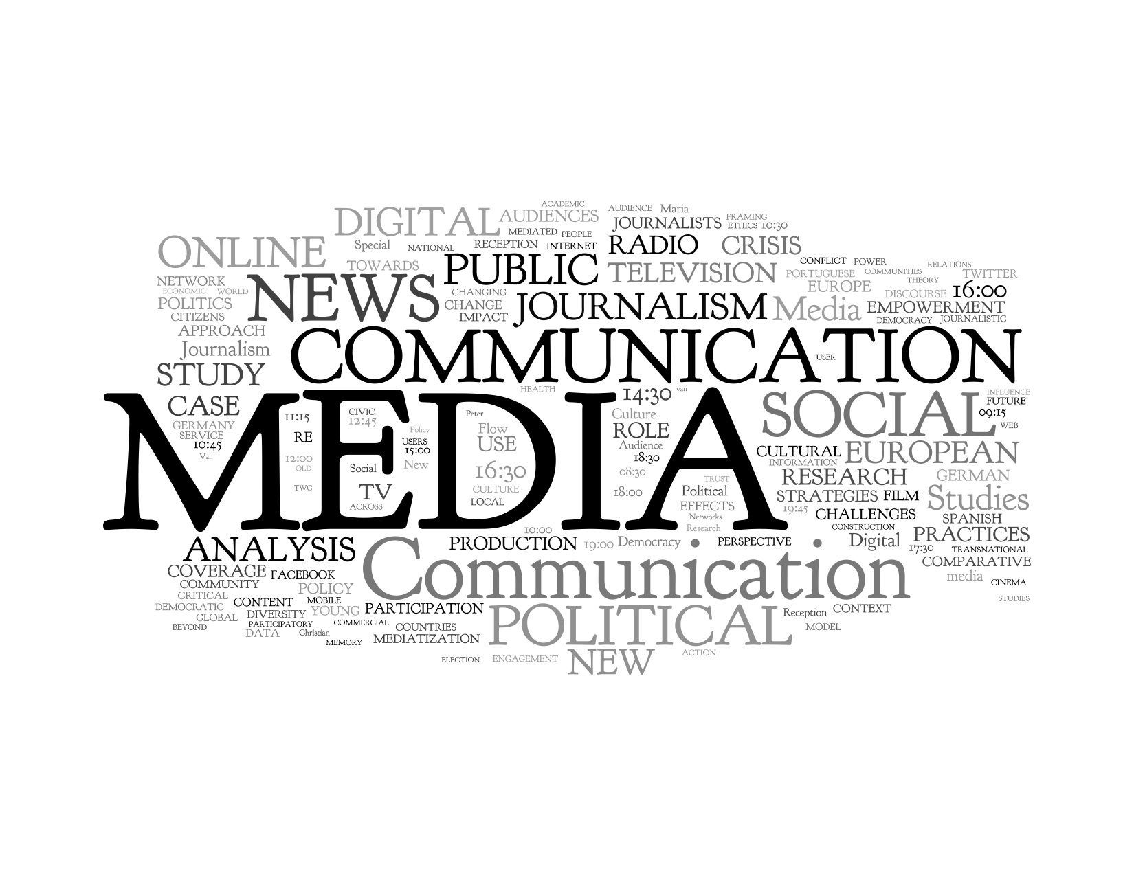 The mass media, including TV, radio and newspapers, have