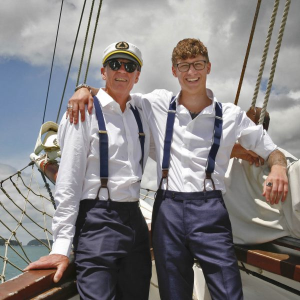 Wedding Photography Groom and groomsman out in the harbour