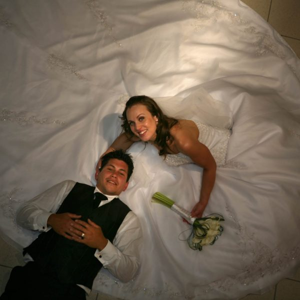 Wedding Photography Bride and Groom from above