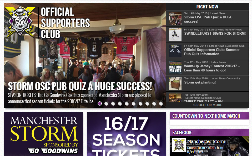 Manchester Storm Website review