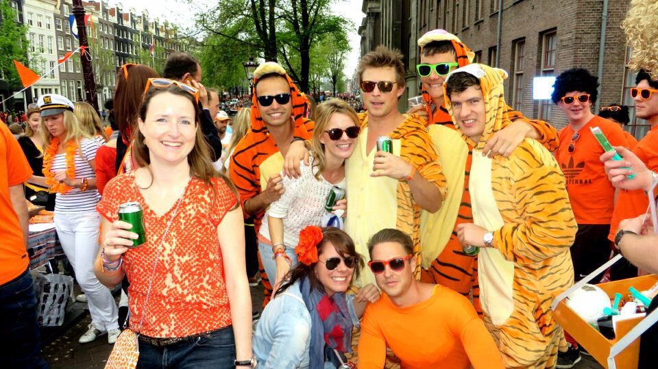 Amsterdam Kings Day people in orange clothes