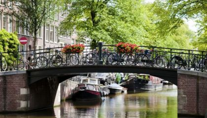 View canals in Jordaan Amsterdam
