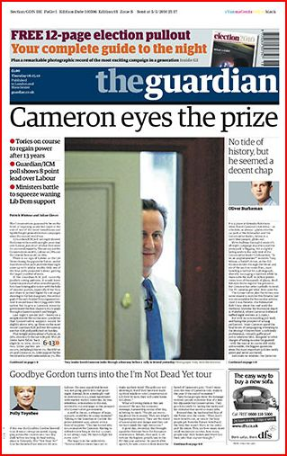 The Guardian UK Election Day 2010 Newspaper Front Pages