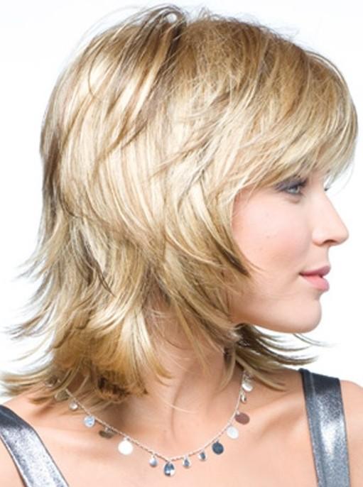 Blonde Medium Layered Haircut