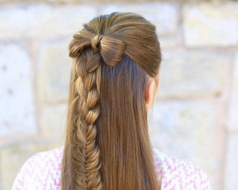 Long Straight Hair Style with French Braid