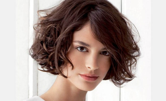 Trendy Curly Bob Hairstyle with Bangs