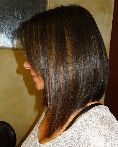 Medium Length A-line Bob with Highlights