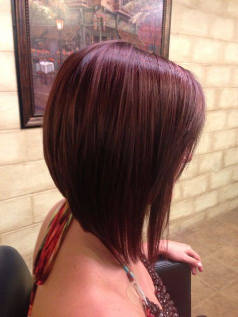 Wine Red Long Angled A-Line Bob