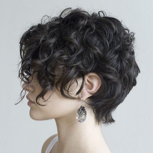 Jet Black Ringlet-ed Haircut