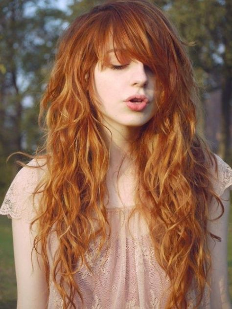 Curly Red Hair with Bangs