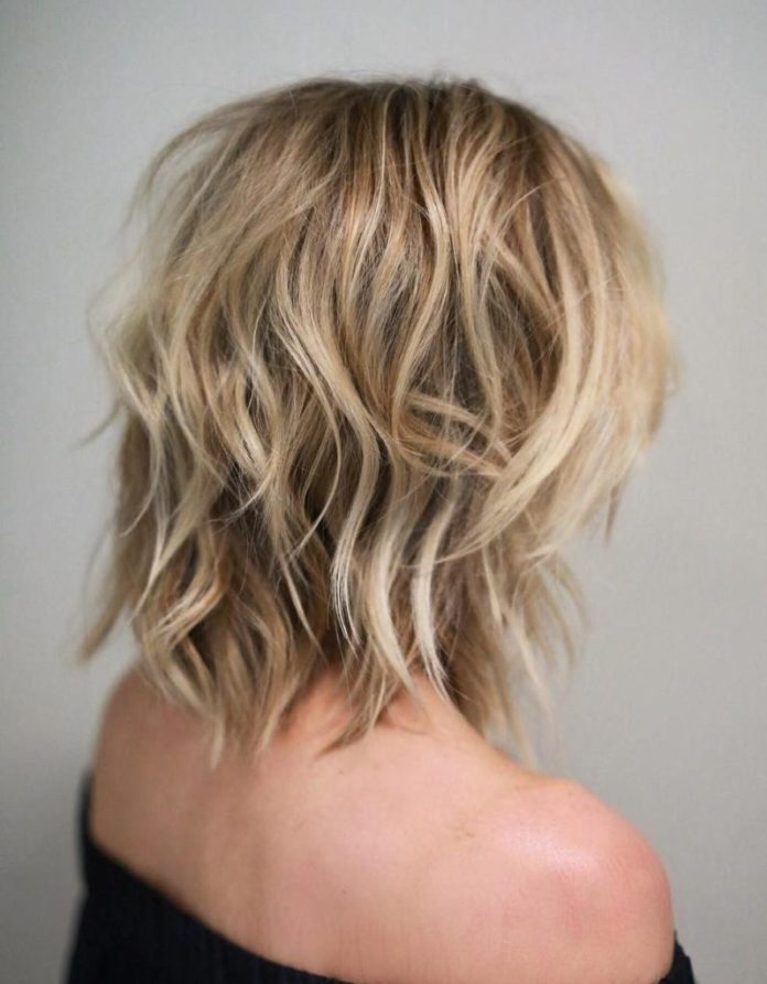 Medium Blonde Shag Haircut