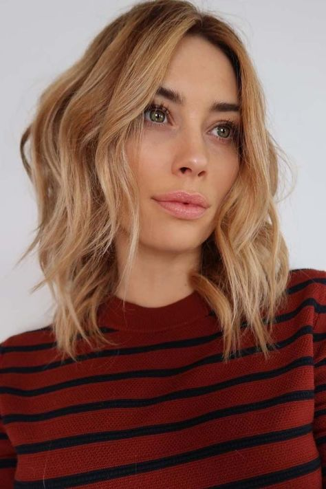 Middle Parted Layered Blonde Lob