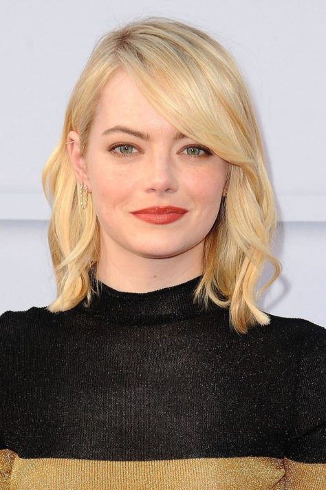 Shinny Blonde Lob with Side Bangs