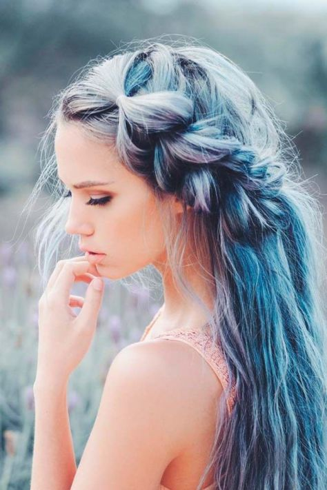 Side Braided Ombre Hair